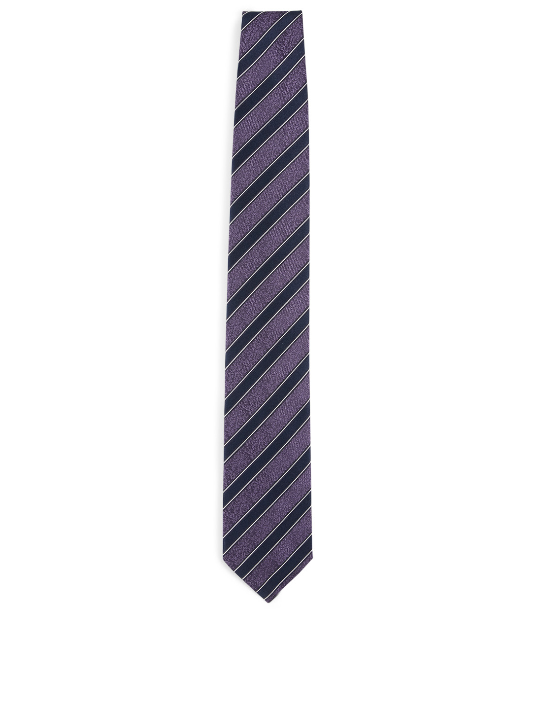 ERMENEGILDO ZEGNA Striped Silk Tie Men's Purple