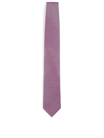 ERMENEGILDO ZEGNA Silk Tie In Geo Pattern Men's Pink