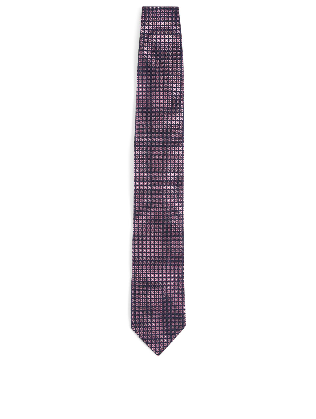 ERMENEGILDO ZEGNA Silk Tie In Square Pattern Men's Pink