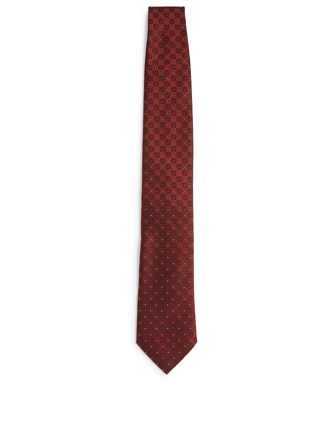ERMENEGILDO ZEGNA Silk Tie In Geo Pattern Men's Red