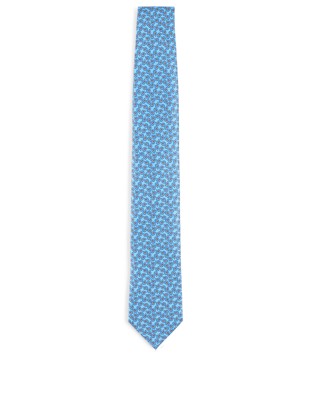 ERMENEGILDO ZEGNA Silk Tie In Paisley Pattern Men's Blue