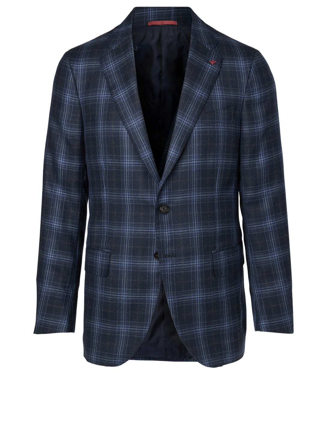 ISAIA Wool Jacket In Check Men's Blue