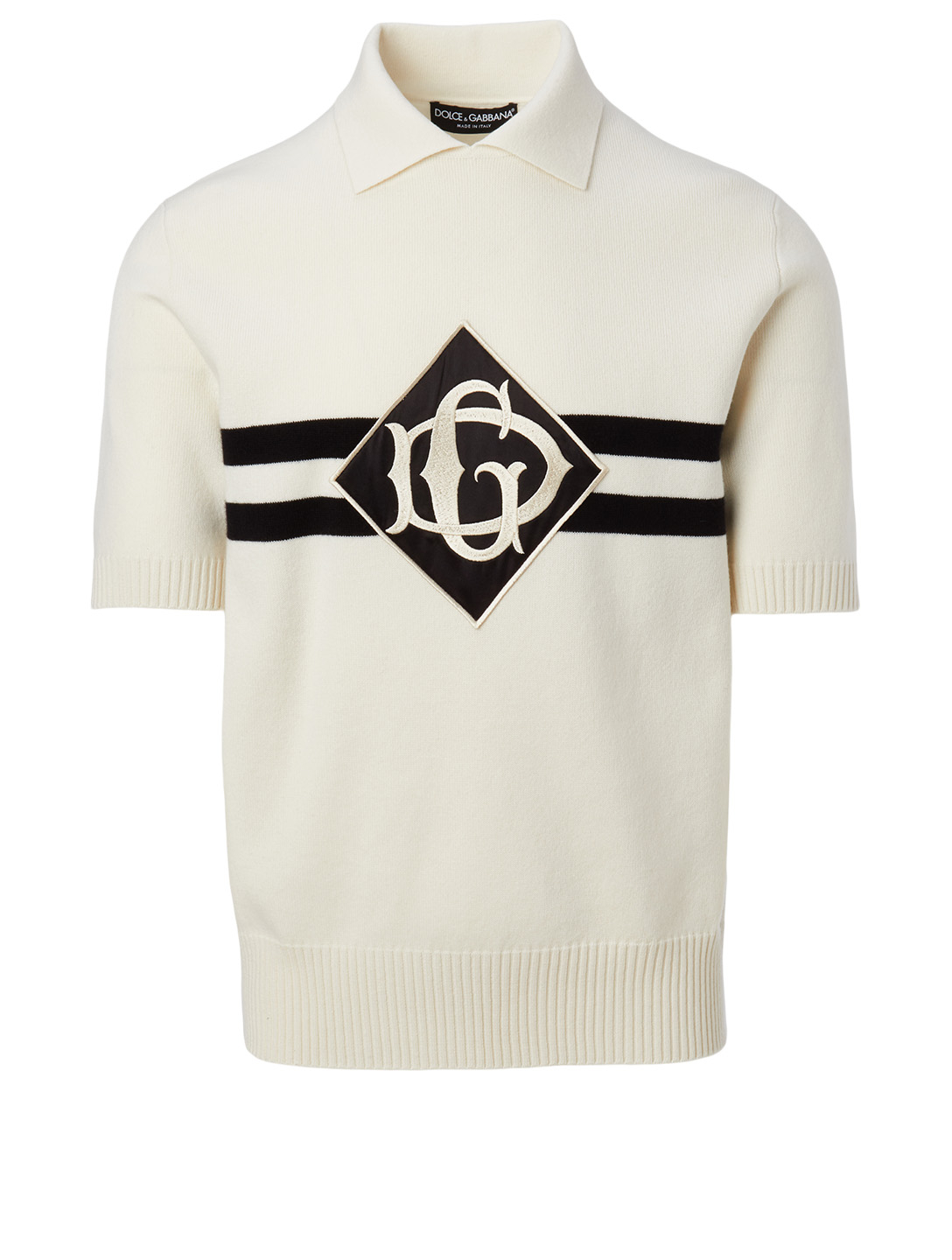 DOLCE & GABBANA Cashmere Polo Shirt With Patch Men's White