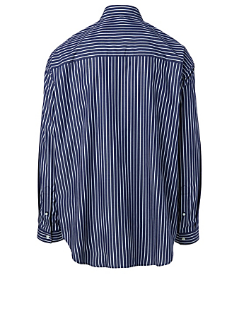 BALENCIAGA Cotton Shirt In Stripe Print Men's White