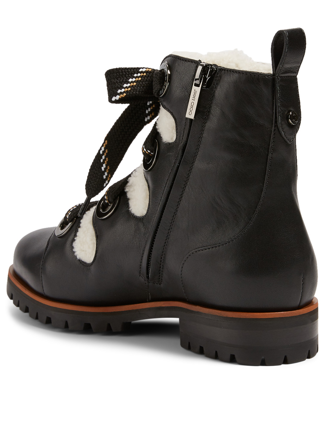 JIMMY CHOO Bei Leather Ankle Boots With Shearling Women's Black