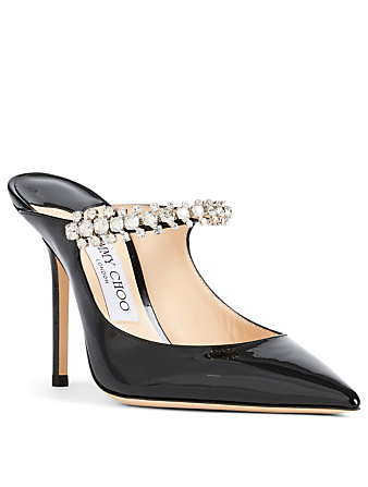 JIMMY CHOO Bing 100 Patent Leather Mules With Crystal Strap Women's Black
