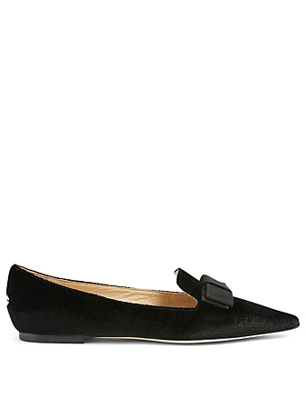 JIMMY CHOO Gala Velvet Flats In Lizard Print Women's Black