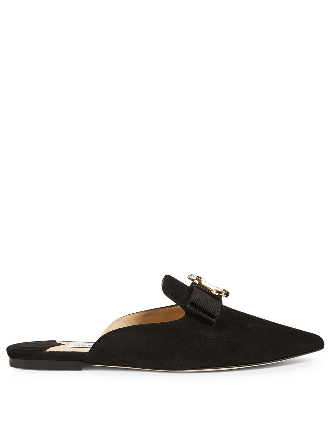 JIMMY CHOO Galaxy Suede Flat Mules Women's Black