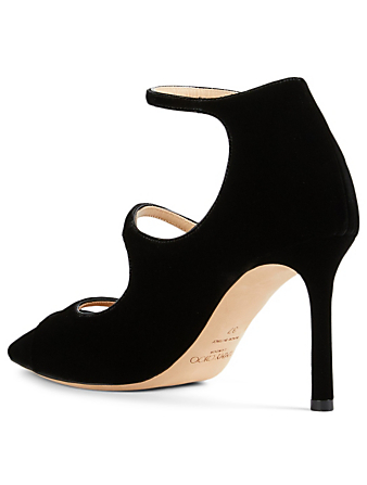 JIMMY CHOO Lacey 85 Velvet Pumps Women's Black