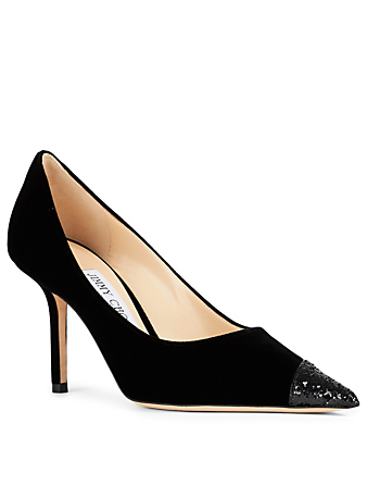 JIMMY CHOO Love 85 Velvet Pumps With Asymmetric Glitter Women's Black