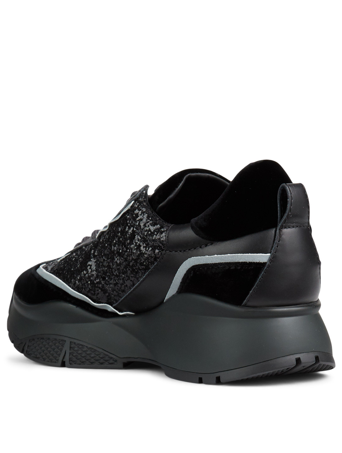 JIMMY CHOO Raine Velvet And Galactica Glitter Fabric Sneakers Women's Black