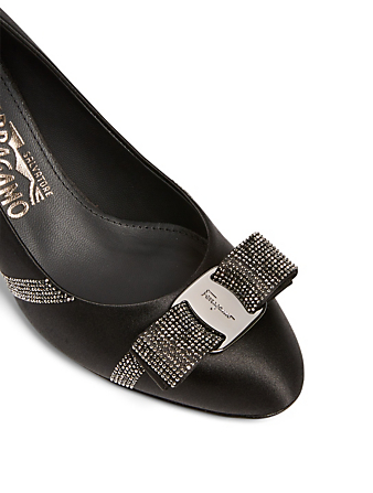 SALVATORE FERRAGAMO Carla 70 Crystal Satin Pumps Women's Black