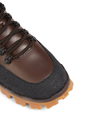 MONCLER Hektor Leather Hiking Boots Men's Brown