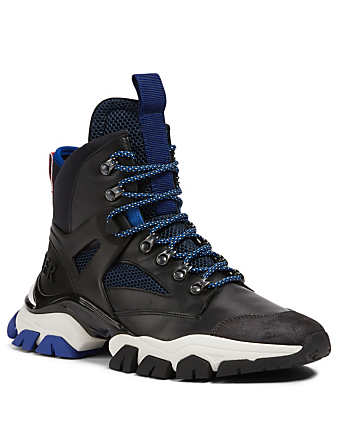 MONCLER Tristan Leather And Mesh Sneaker Boots Men's Blue