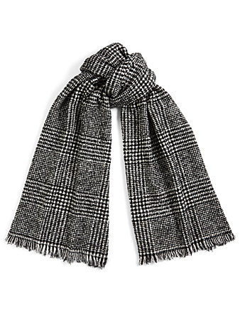 DESTIN Unice Prince Wool-Blend Scarf In Check Women's White