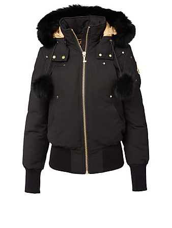 MOOSE KNUCKLES Gold Collection Sainte Flavie Down Bomber Jacket With Fur Hood Women's Black