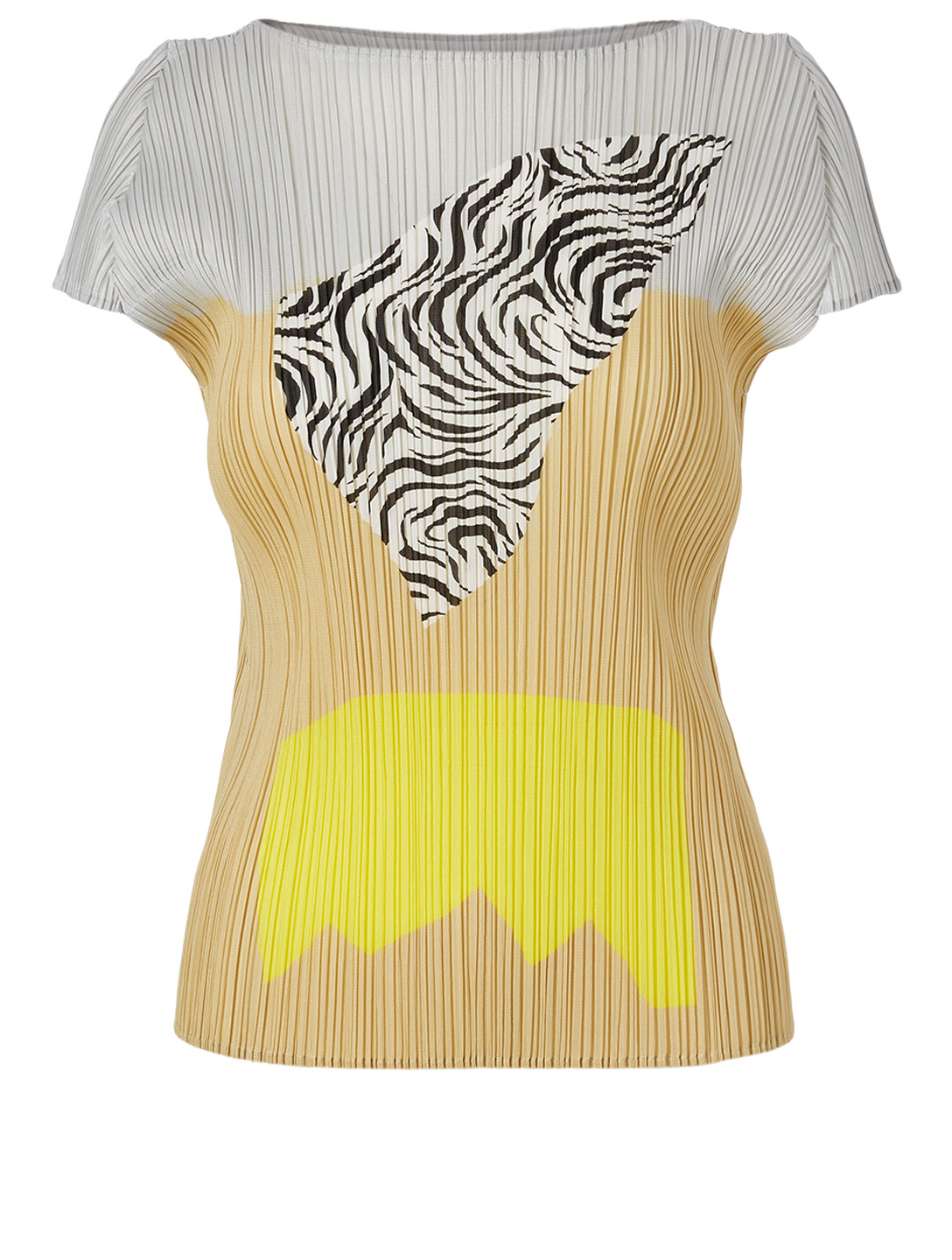 PLEATS PLEASE ISSEY MIYAKE Pleated Short-Sleeve Top Women's Yellow