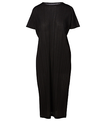 PLEATS PLEASE ISSEY MIYAKE Pleated Short-Sleeve Dress Women's Black