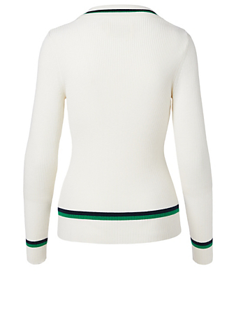 TORY SPORT Wool Polo Sweater Women's White