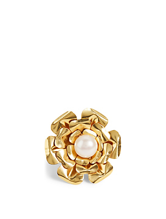 MERCEDES SALAZAR Goldenen Pearl Gold-Plated Flower Ring H Project No Color