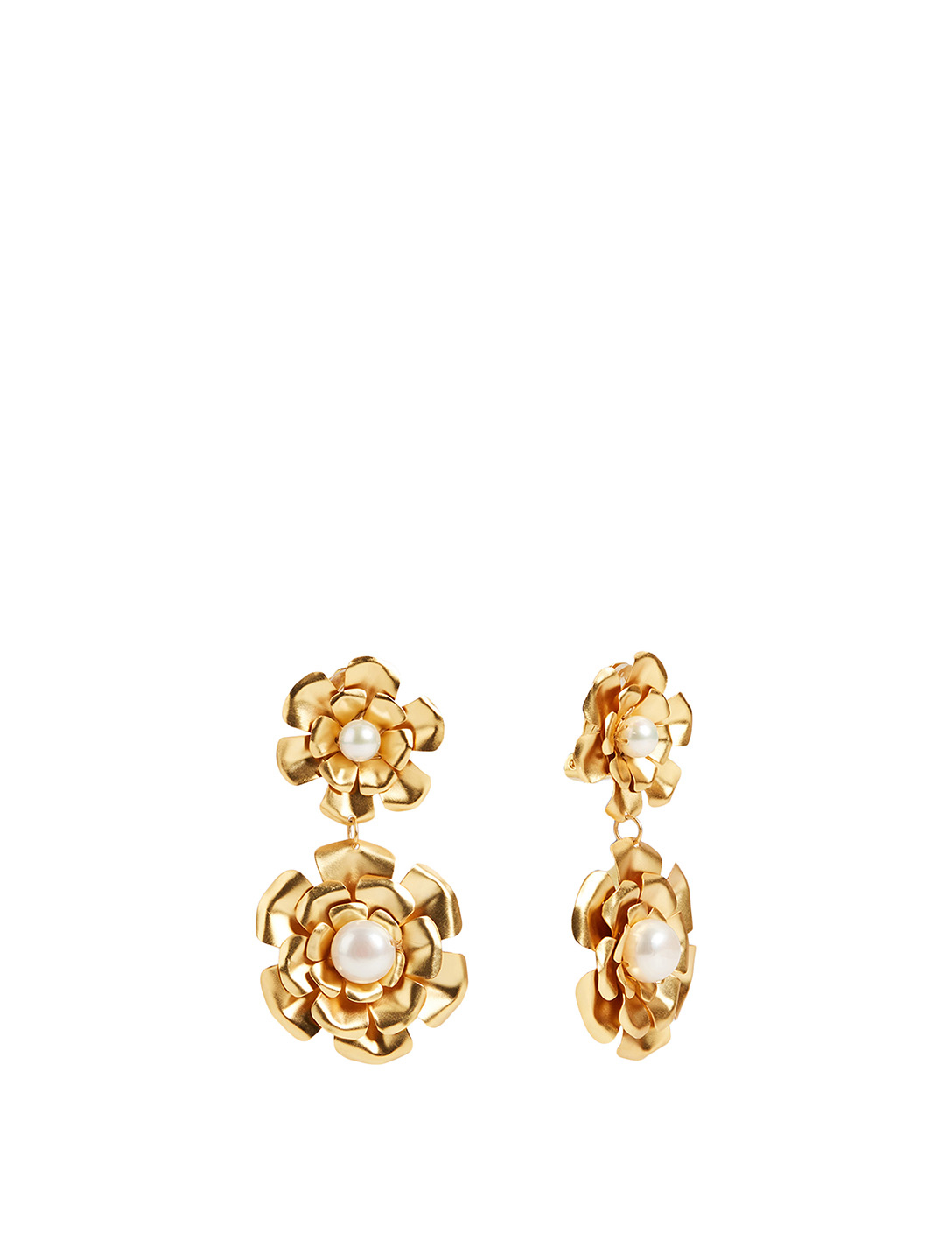 MERCEDES SALAZAR Goldenen Garden Of Pearls Gold-Plated Flower Drop Earrings H Project No Color