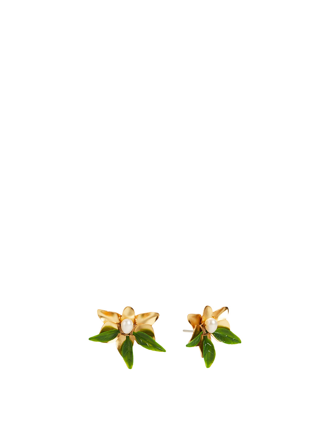 MERCEDES SALAZAR Goldenen Orchids Gold-Plated Earrings With Pearls H Project No Color