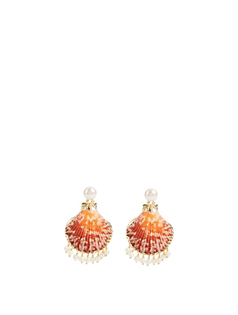 Pearl Raindrop Gold-Plated Seashell Drop Earrings