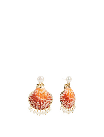 MERCEDES SALAZAR Pearl Raindrop Gold-Plated Seashell Drop Earrings H Project No Color