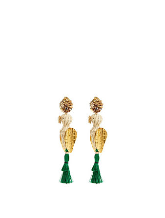 MERCEDES SALAZAR Raphia Parakeet Gold-Plated Drop Earrings H Project No Color