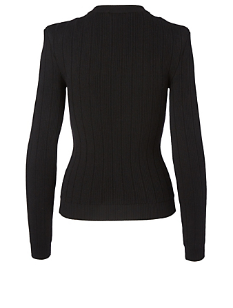 BALMAIN Wool-Blend Button Top Women's Black
