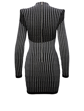 BALMAIN Mini Dress In Stripe Print Women's Black