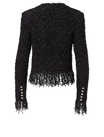 BALMAIN Wool-Blend Fringe Blazer Women's Black