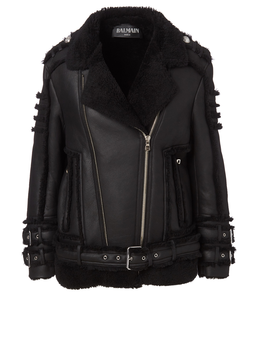 BALMAIN Perfecto Shearling Jacket Women's Black
