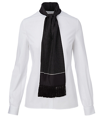 DOLCE & GABBANA Cotton And Silk Shirt With Scarf Women's White