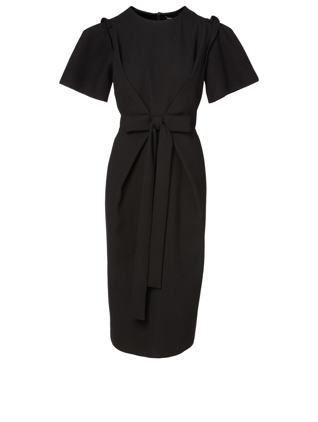 DOLCE & GABBANA Wool Stretch Midi Dress Women's Black