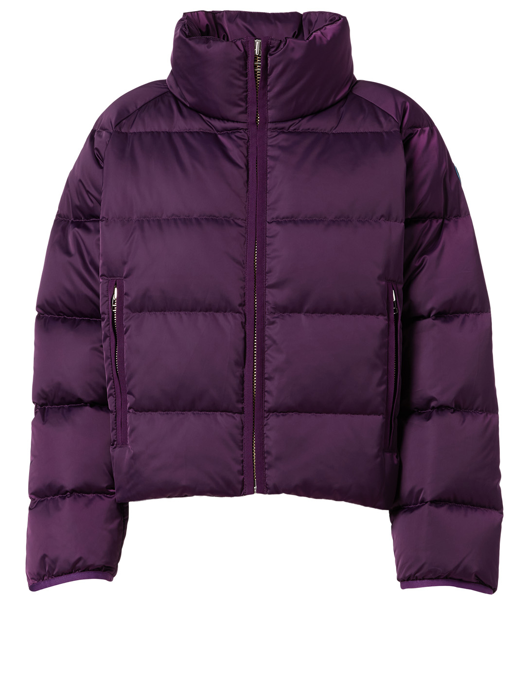 TORY SPORT Satin Cropped Down Puffer Jacket Women's Purple