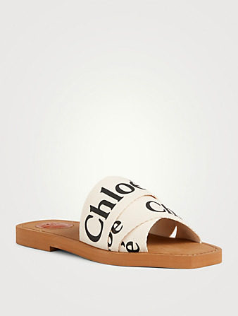 CHLOÉ Woody Canvas Logo Slide Sandals Women's White