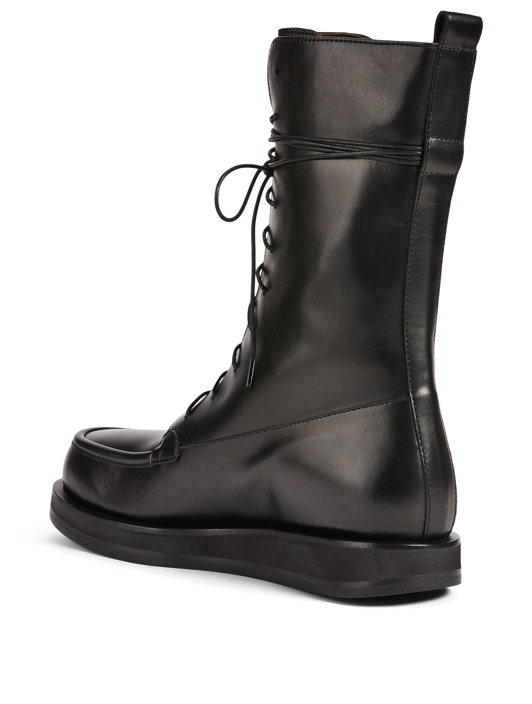 THE ROW Patty Leather Combat Boots Women's Black