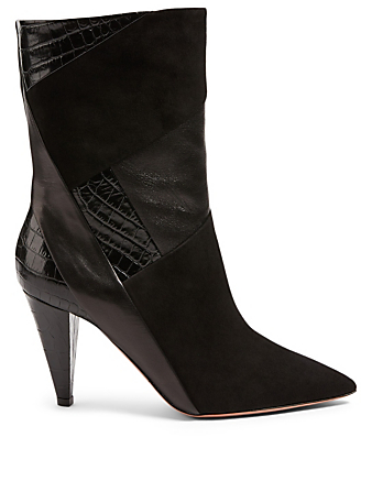 AQUAZZURA Calder 85 Croc-Embossed Leather And Suede Heeled Boots Women's Black