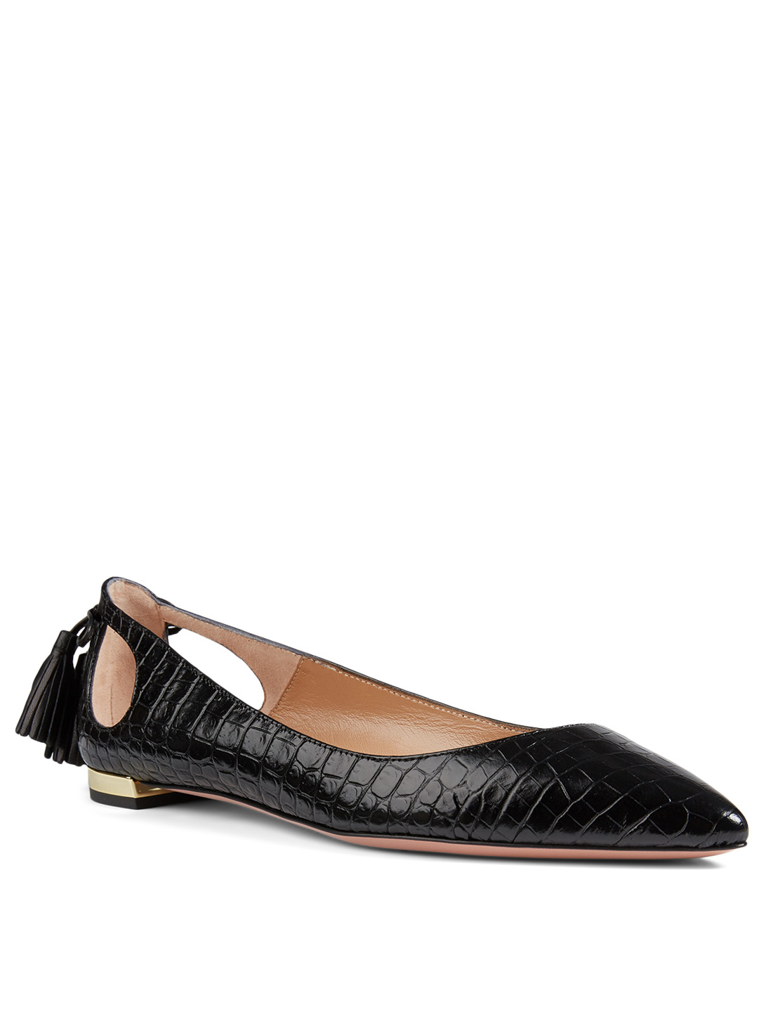AQUAZZURA Forever Marilyn Croc-Embossed Leather Flats Women's Black