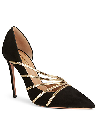 AQUAZZURA Minou 105 Suede Pumps Women's Black