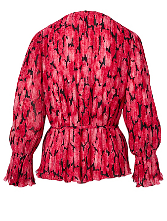 KENZO Pleated Blouse In Peony Print Women's Pink