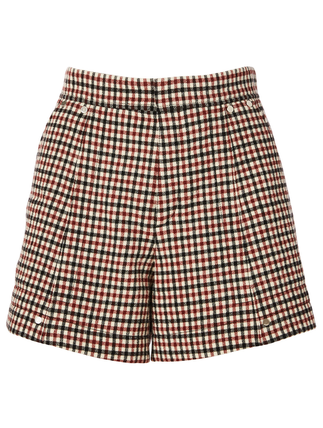 CHLOÉ Wool High-Waisted Shorts In Check Print Women's Red