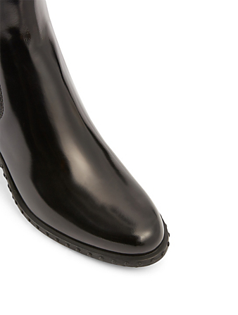 TOD'S Leather Texan Heeled Chelsea Boots Women's Black