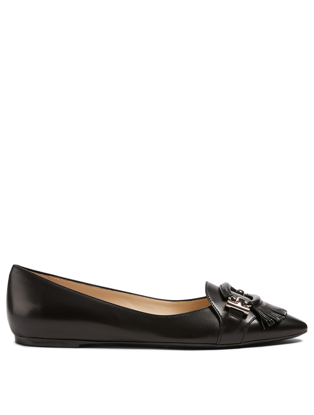 TOD'S T-Ring Leather Ballet Flats Women's Black