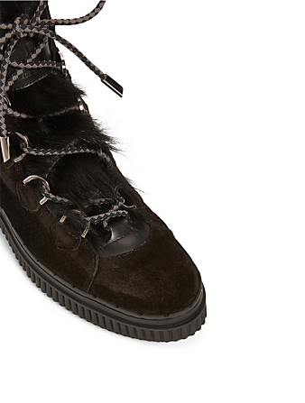 TOD'S Suede Lace-up Trekking Boots With Shearling Women's Black