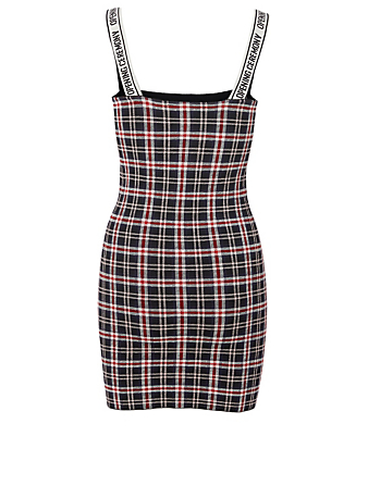 OPENING CEREMONY Logo Mini Dress In Plaid Print Women's Multi