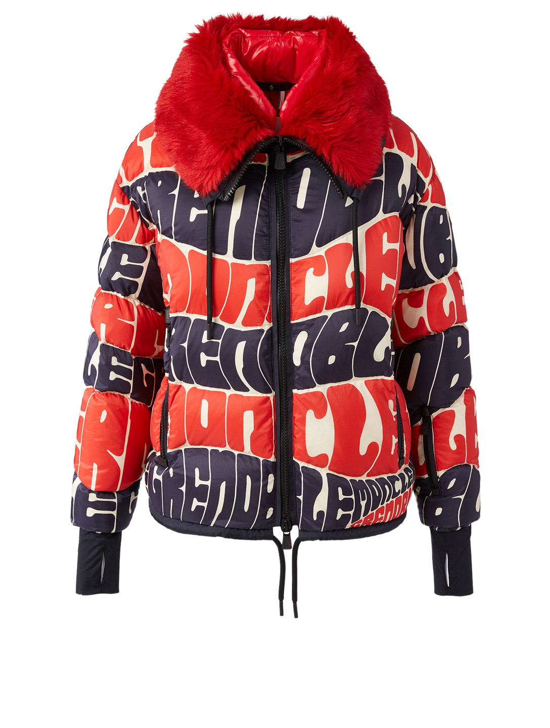 MONCLER GRENOBLE Plaret Down Bomber Jacket In Logo Print Plaret Down Bomber Jacket In Logo Print Multi