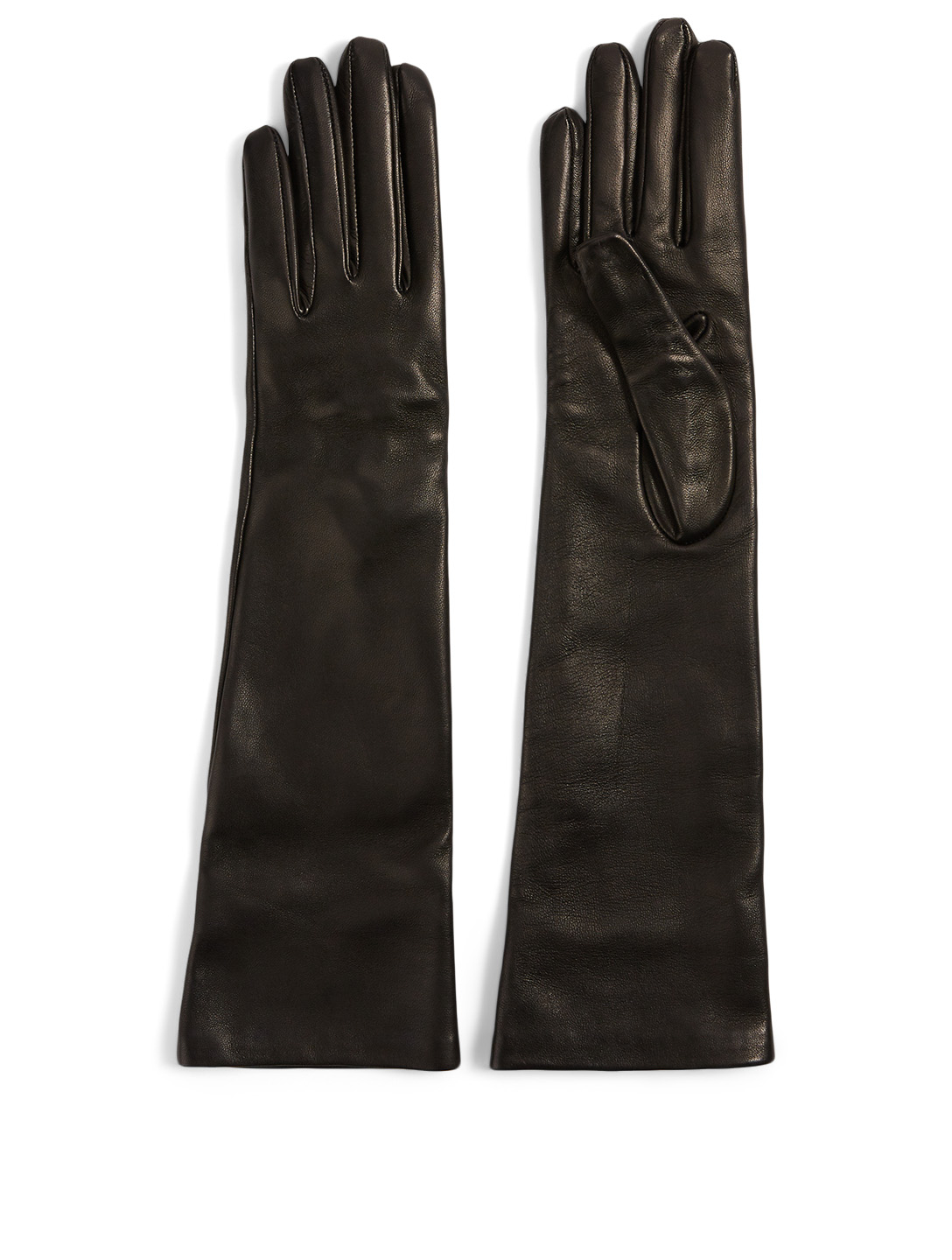 MAX MARA Afide Long Leather Gloves Women's Black