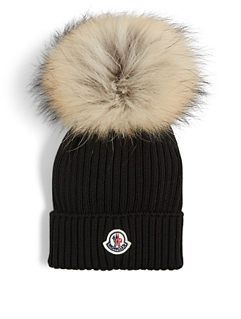 MONCLER ENFANT Kids' Wool Toque With Fur Pom Kids Black